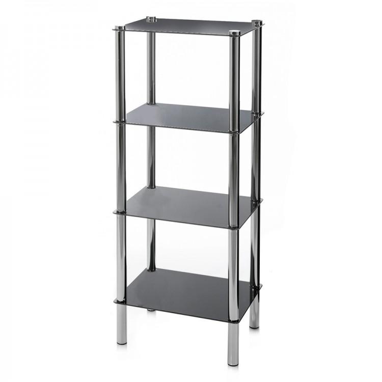 Estantera de cuatro niveles en negro y cromado 40x30x108 cm
