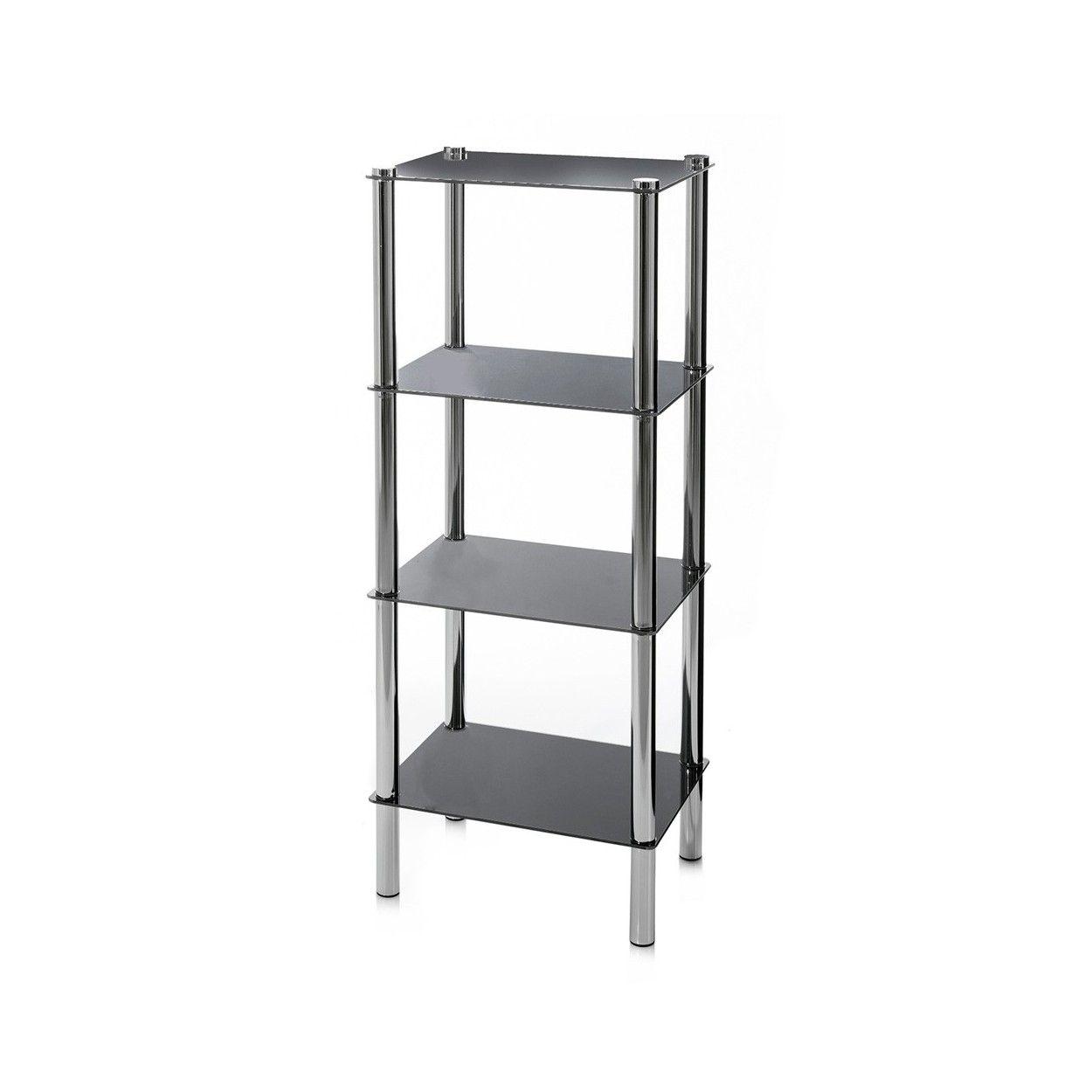 Estanter a de cuatro niveles en negro y cromado 40x30x108 cm cristal y metal hogar y m s - Estanterias de cristal para banos ...