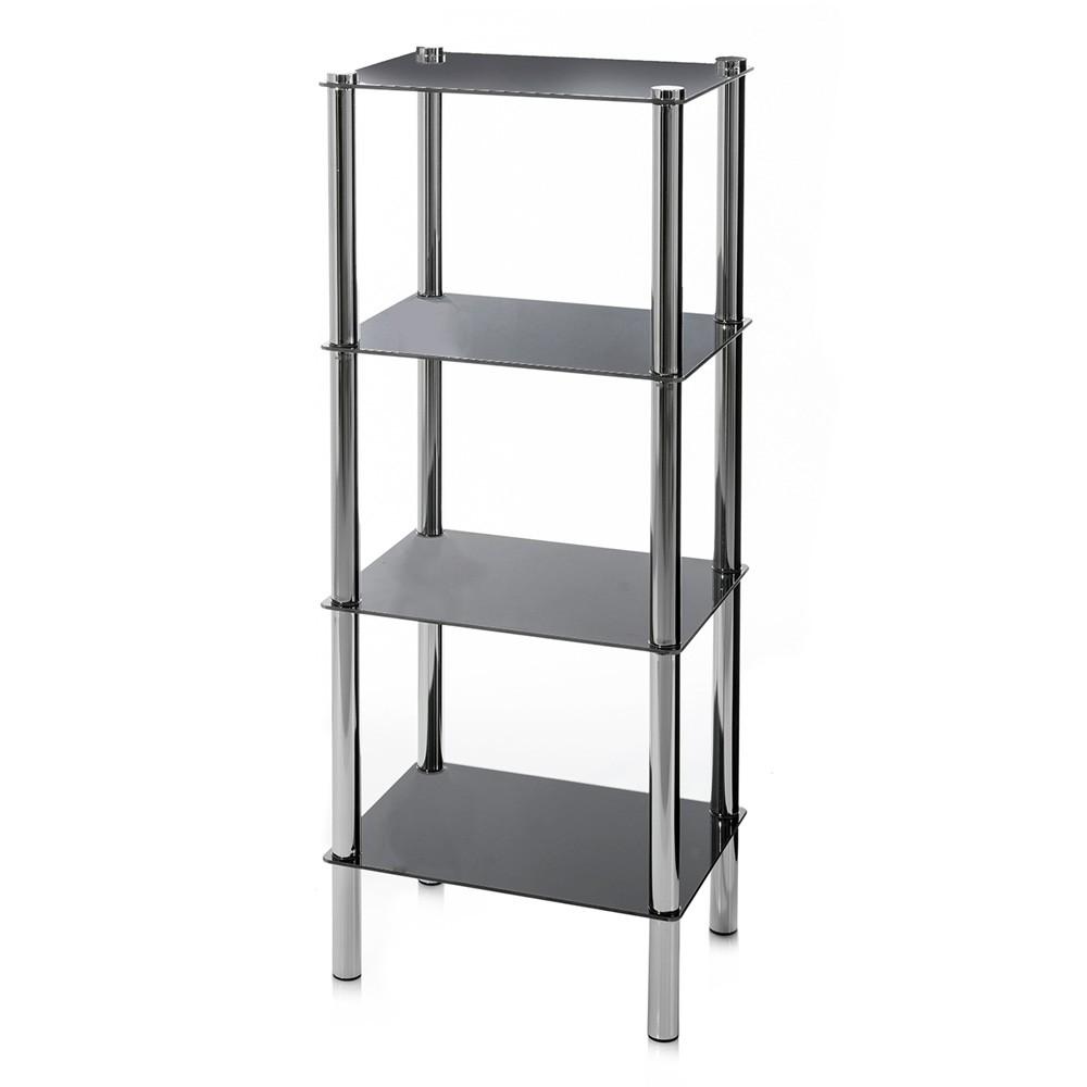 Estantería de cuatro niveles en negro y cromado (40x30x108 cm) cristal y metal