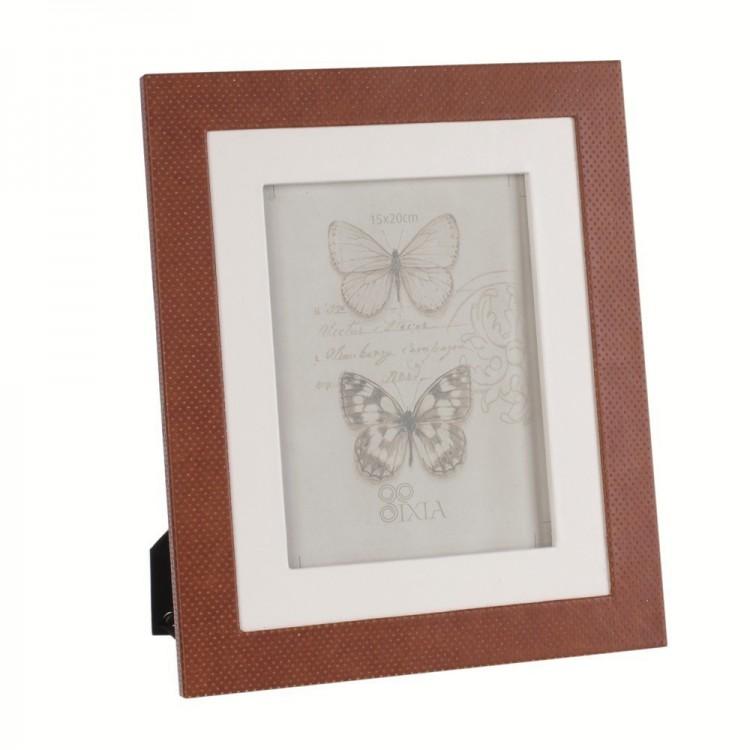 Portafotos marrón-blanco (25 x 1 x 30 cm)