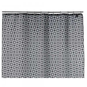 Cortina de baño blanca/negra, formas geométricas (180x200)