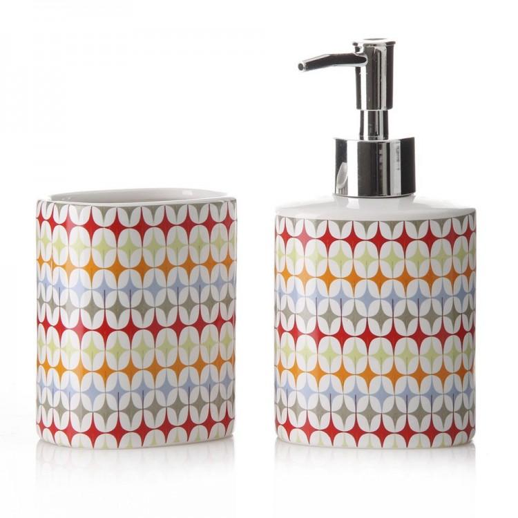 Juego baño Fusión ceramico con dispensador y vaso (8,20 x 6,20 x 16 cm)