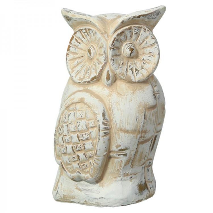 Figura de Búho en blanco envejecido (8,3x8,3x13,5 cm) cerámica