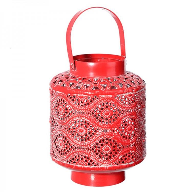 Farol portavelas étnico rojo en metal (12x12x15 cm)