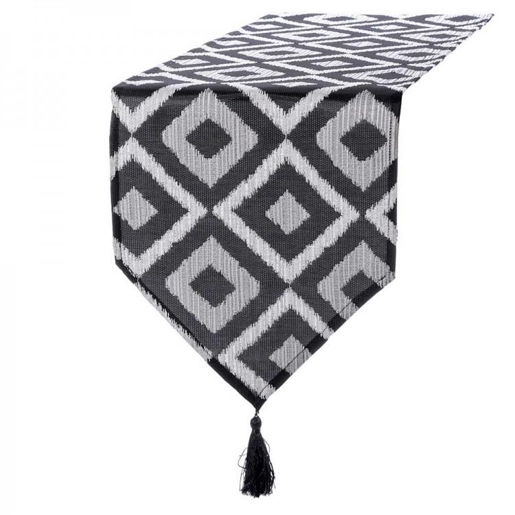 Camino de mesa rombos negro/blanco 135X35 cm