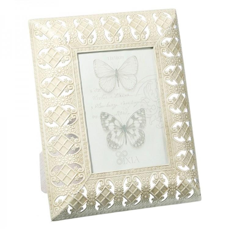 Marco de fotos en color crema - para fotografías de 13x18 cm - (23x3,5x28 cm) arabesco en metal
