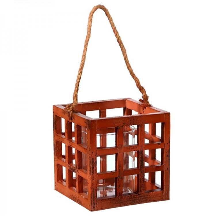 Portavelas con asa en madera y vaso de cristal (13x13x13 cm) naranja