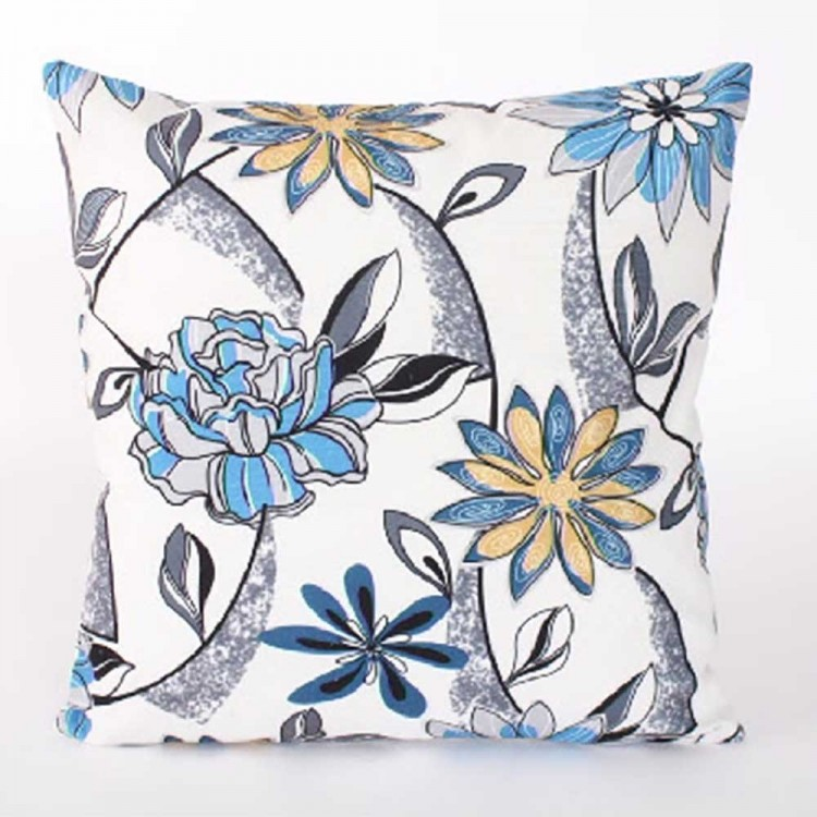 Cojín cuadrado azul floral, Hogar y Mas