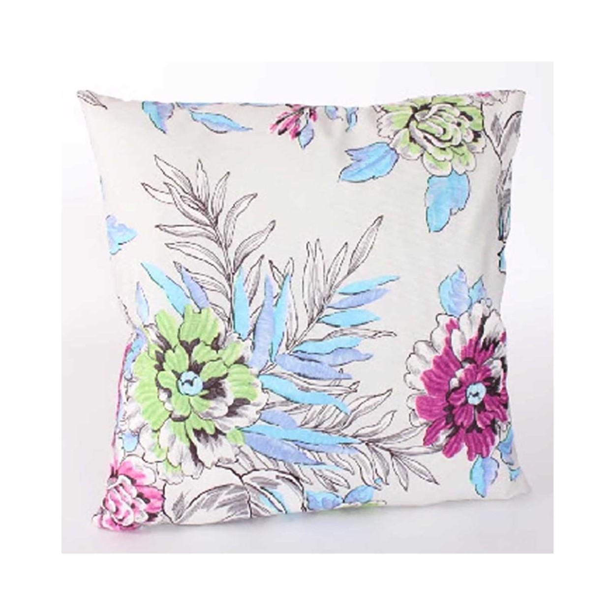Coj n cuadrado floral fucsia azul 45x45 hogar y m s - Cojin cuadrado suelo ...